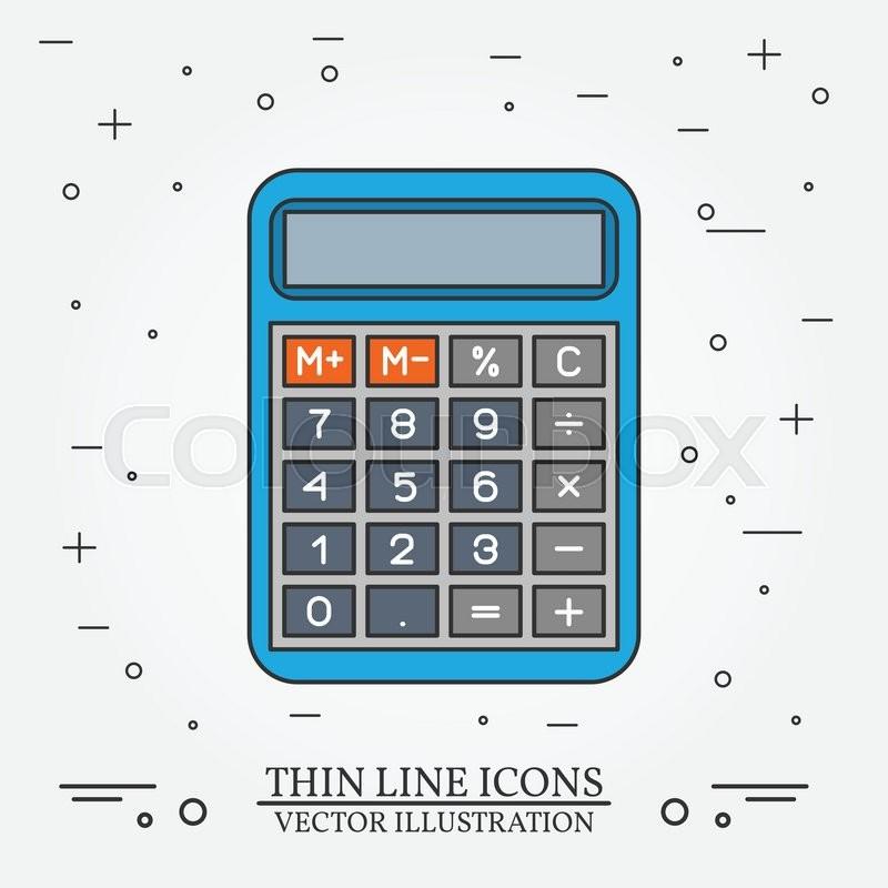800x800 Calculator Thin Line Design. Calculator Pen Icon. Calculator Pen