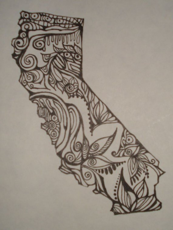570x759 California Outline W Design Interiororiginal Drawing By Alliart