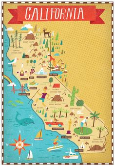 236x340 illustrated map of california on behance call gwin39s to go 314