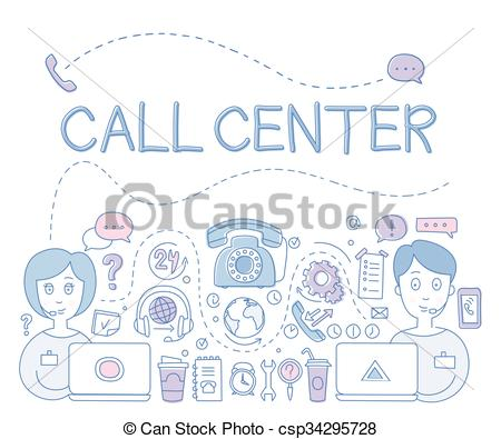 450x395 Support Call Center. Vector Illustration. Support Call Vector