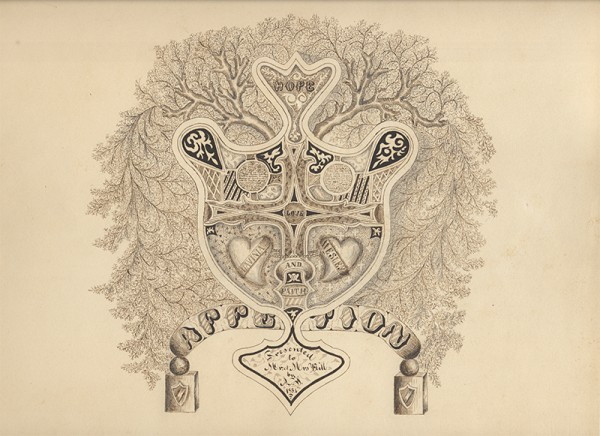 600x436 American (Rhode Island), 19th Century, Calligraphic Drawing