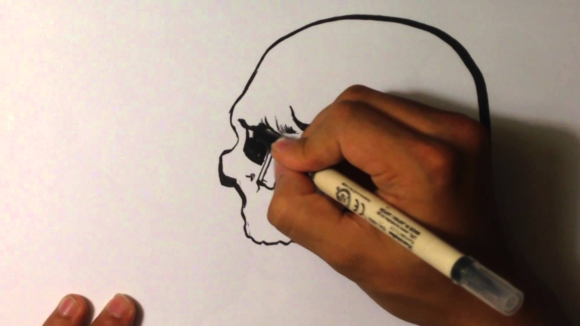 1920x1080 How To Draw A Skull With Calligraphy Pen