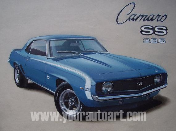 570x425 1969 Camaro Ss 396 Car Drawing Art Using Chalks, Colored Pencils