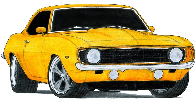 800x418 1969 Chevrolet Camaro Ss Drawing Posters By Itsmeruva Redbubble