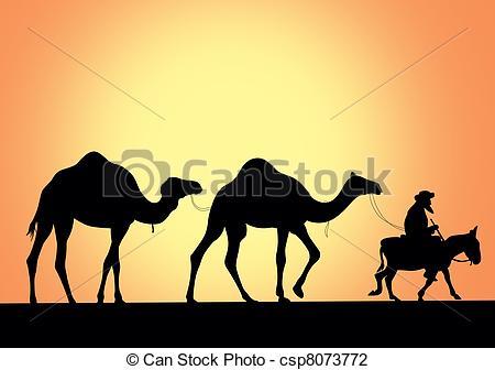450x336 Camel Caravan, Vector Illustration Vector Illustration
