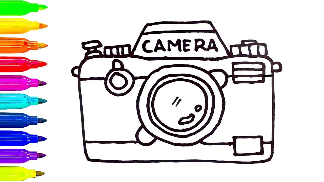 1280x720 Camera Drawing And Coloring For Kids Art Colors For Children
