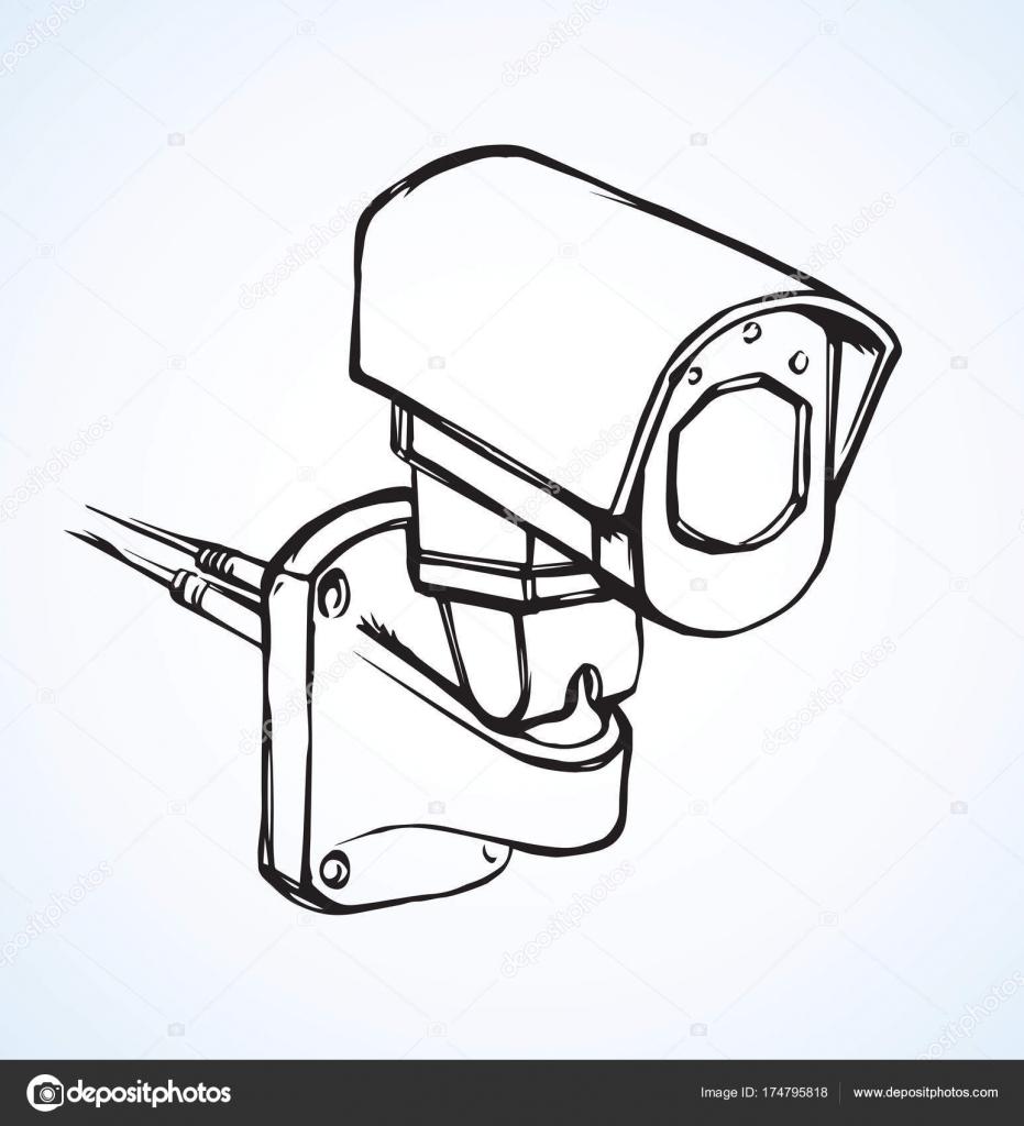 931x1024 Security Camera. Vector Drawing Stock Vector Marinka