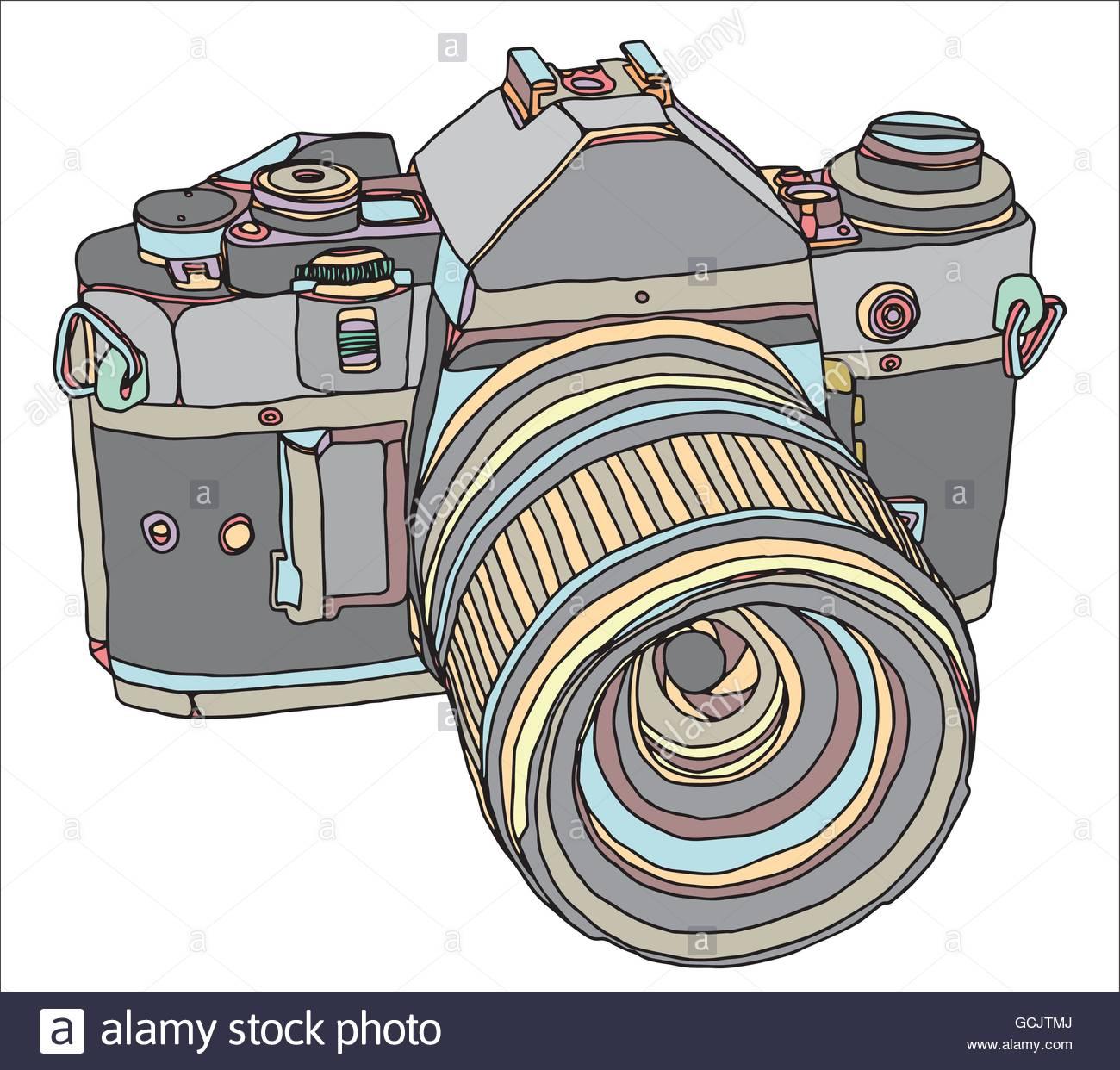 1300x1242 Vintage Old Photo Camera Draw. Vector Illustration Eps 10 Stock