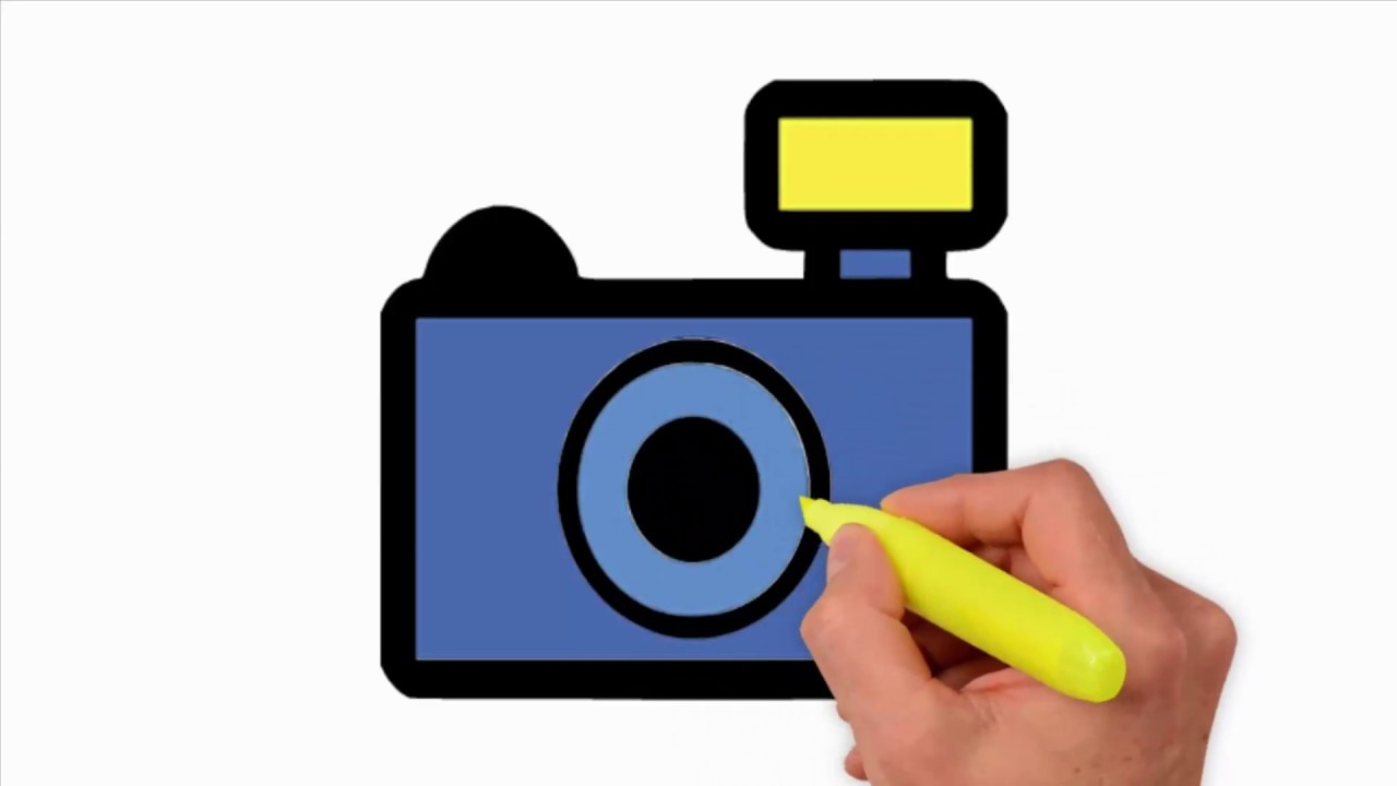 1280x720 Coloring Pages Camera Drawing Simple