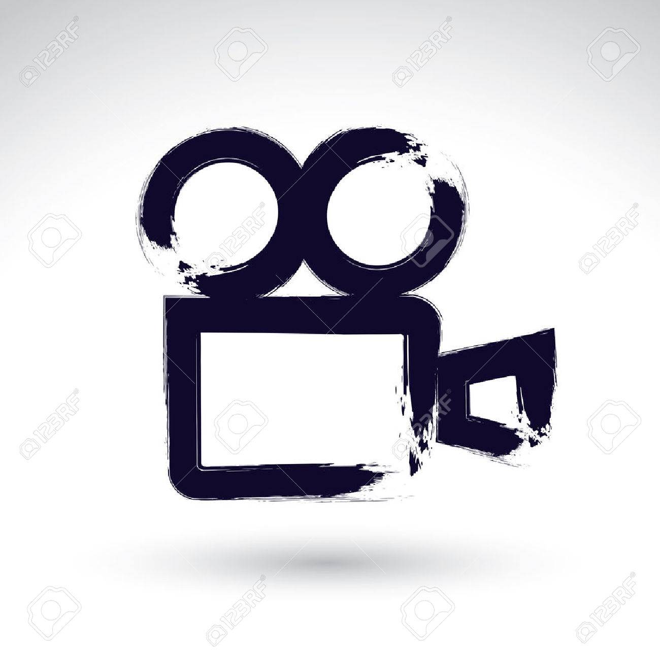1300x1300 Realistic Ink Hand Drawn Video Camera Icon, Simple Hand Painted