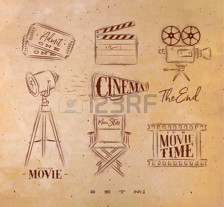 450x416 Cinema Symbols Ticket, Clapperboard, Movie Camera, Horn