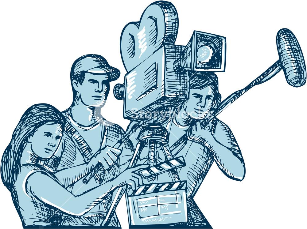 1000x748 Drawing Style Illustration Of A Film Crew Cameraman Soundman