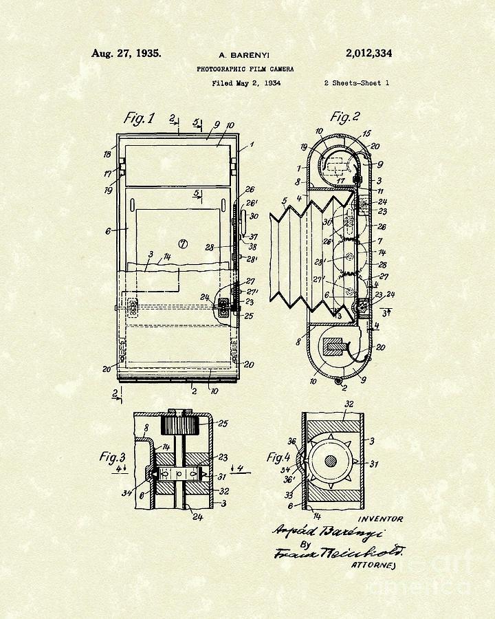 720x900 Film Camera 1935 Patent Art Drawing By Prior Art Design