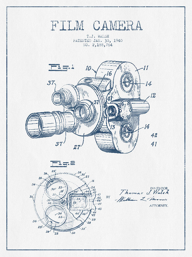 675x900 Film Camera Patent Drawing From 1938