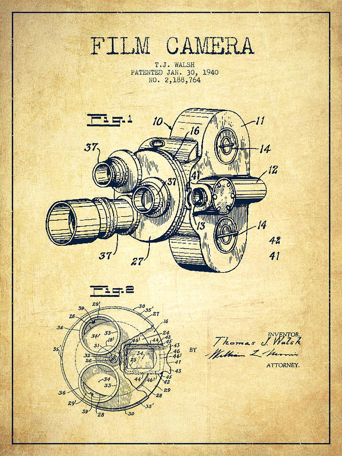 675x900 Film Camera Patent Drawing From 1938 Digital Art By Aged Pixel