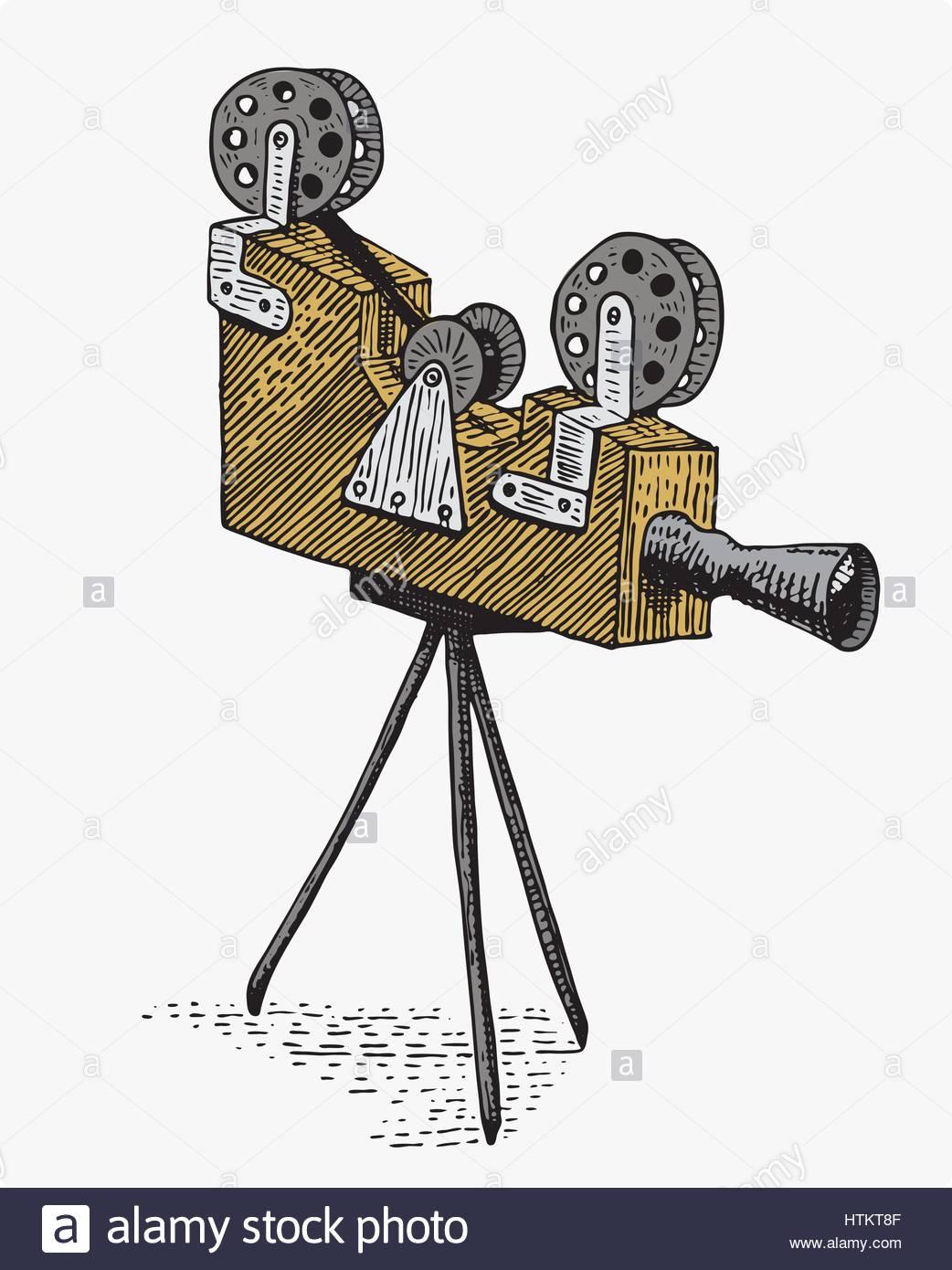 1042x1390 Photo Movie Or Film Camera Vintage, Engraved, Hand Drawn In Sketch