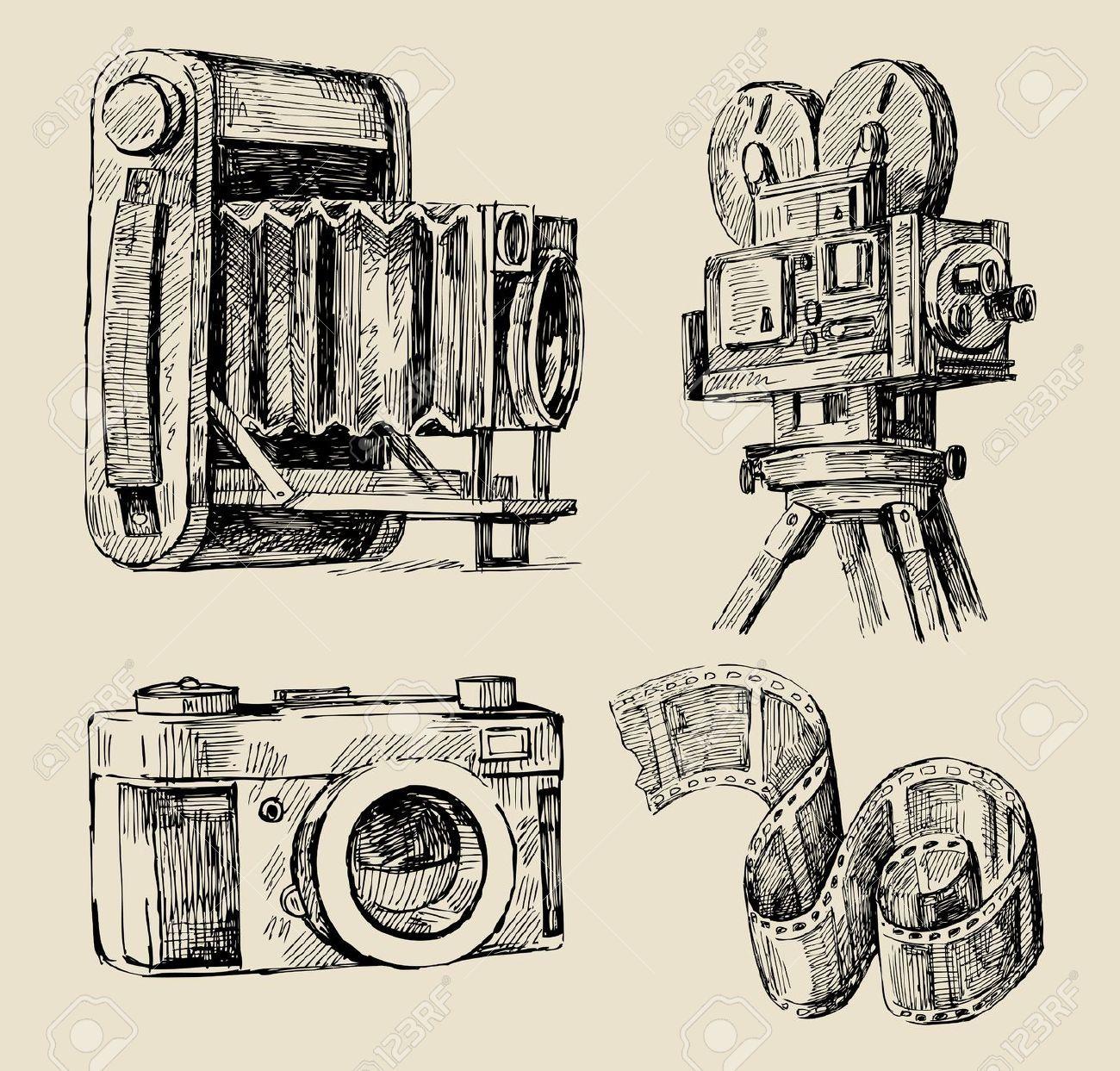 1300x1243 Drawing Old Camera