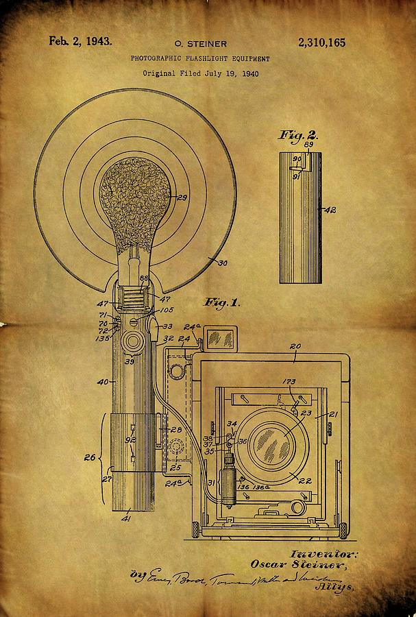 607x900 1943 Camera Flash Patent Drawing By Dan Sproul