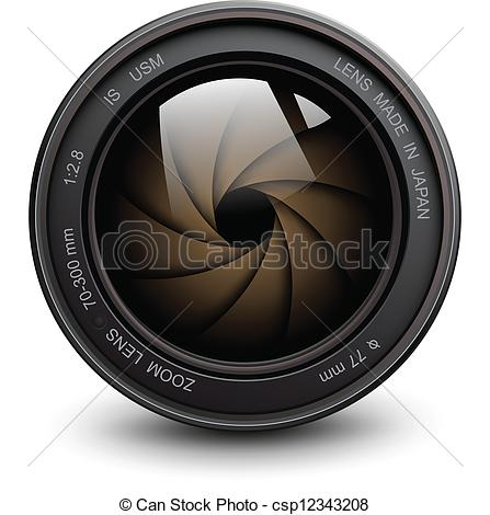 447x470 Camera Lens. Camera Photo Lens With Shutter. Vector Clipart