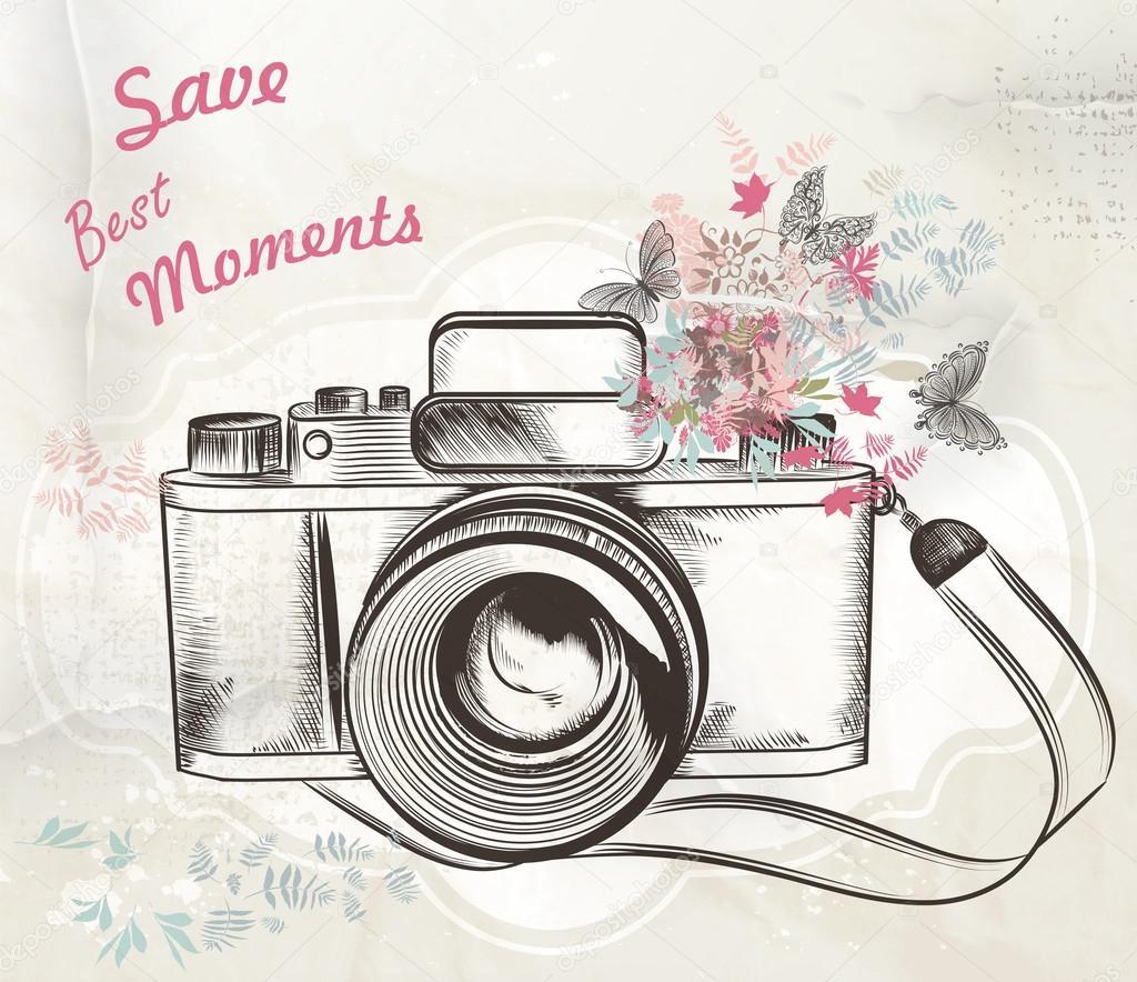 1024x884 Cute Hand Drawn Vintage Camera Vector Illustration Stock Vector