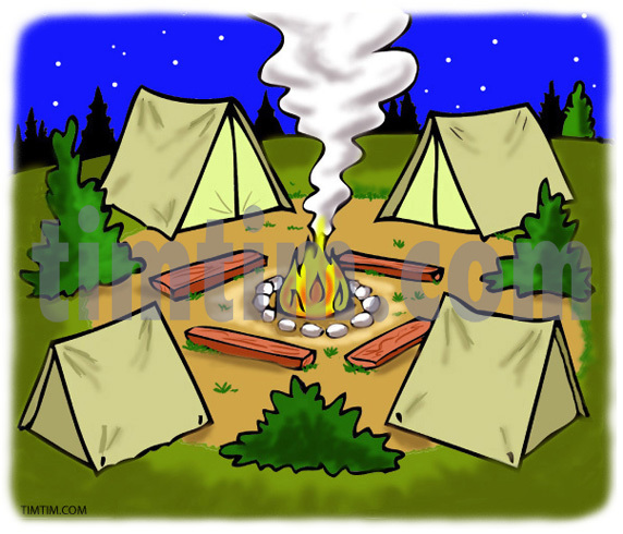 572x490 Free Drawing Of Camp From The Category Fishing Hunting Camping