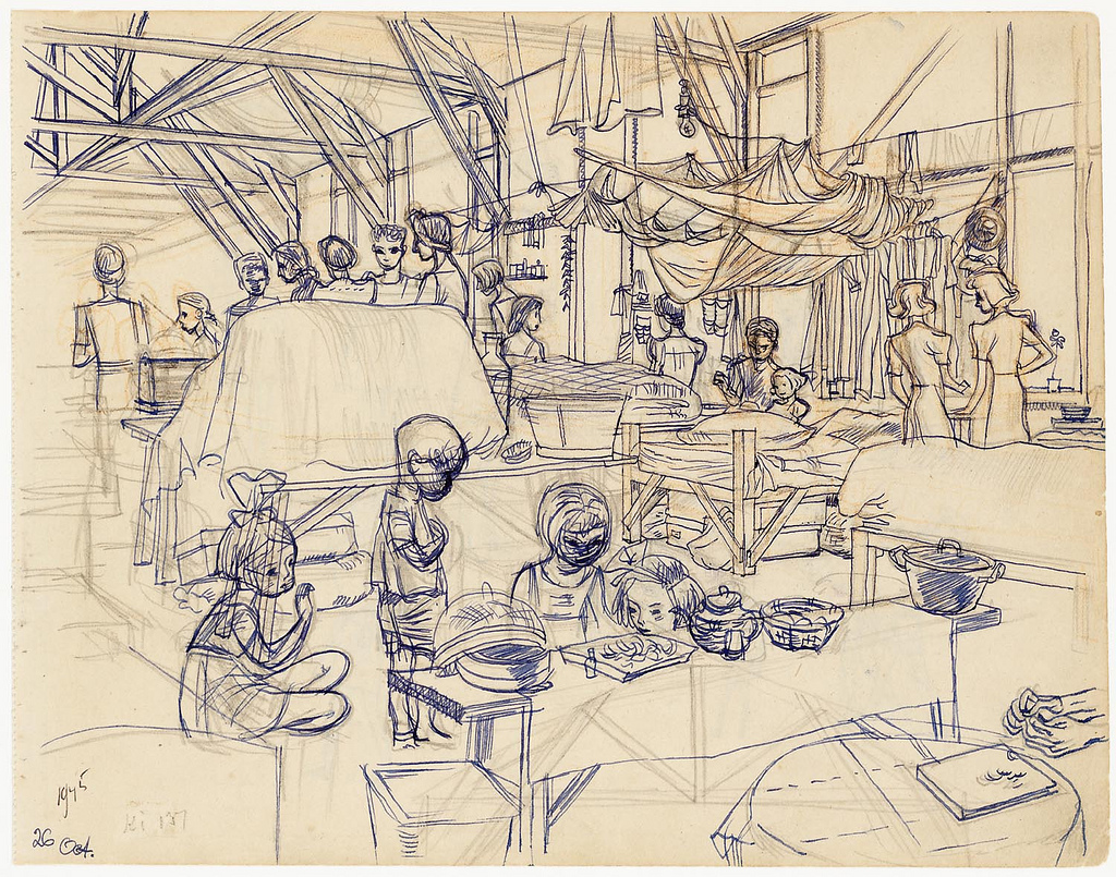 1024x805 Japanese Occupation In Indonesia Internment Camp Drawing