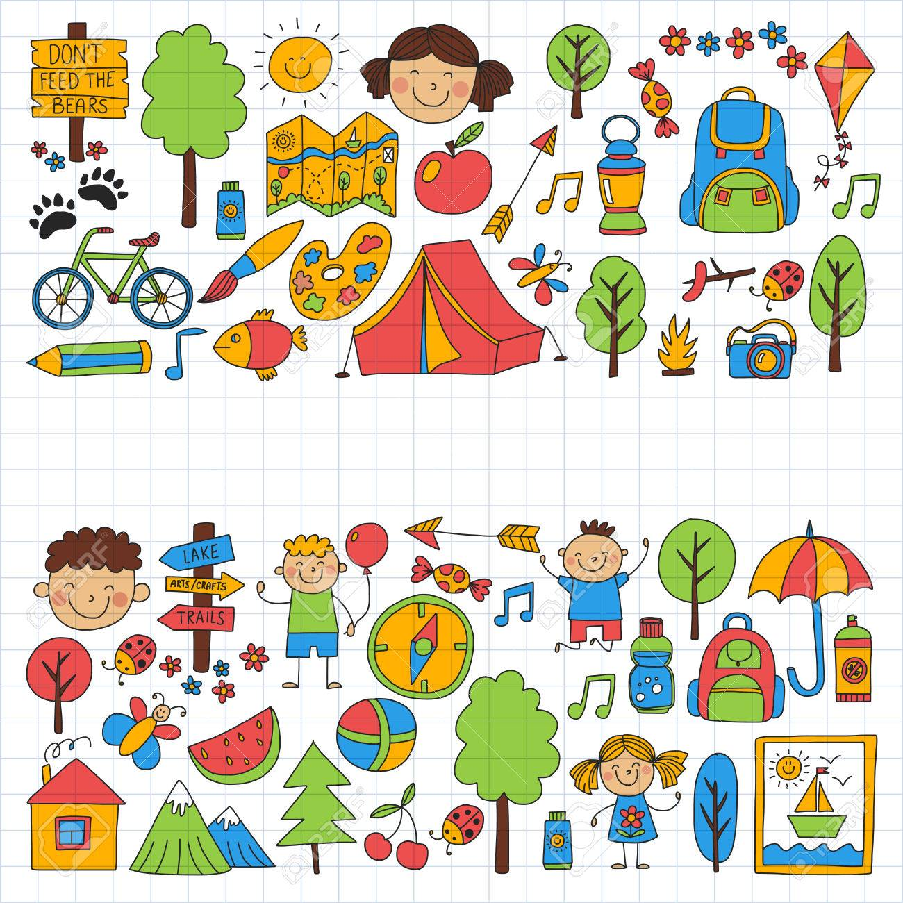 1300x1300 Summer Camp Children, Kids Camping Children Plays, Hiking, Singing