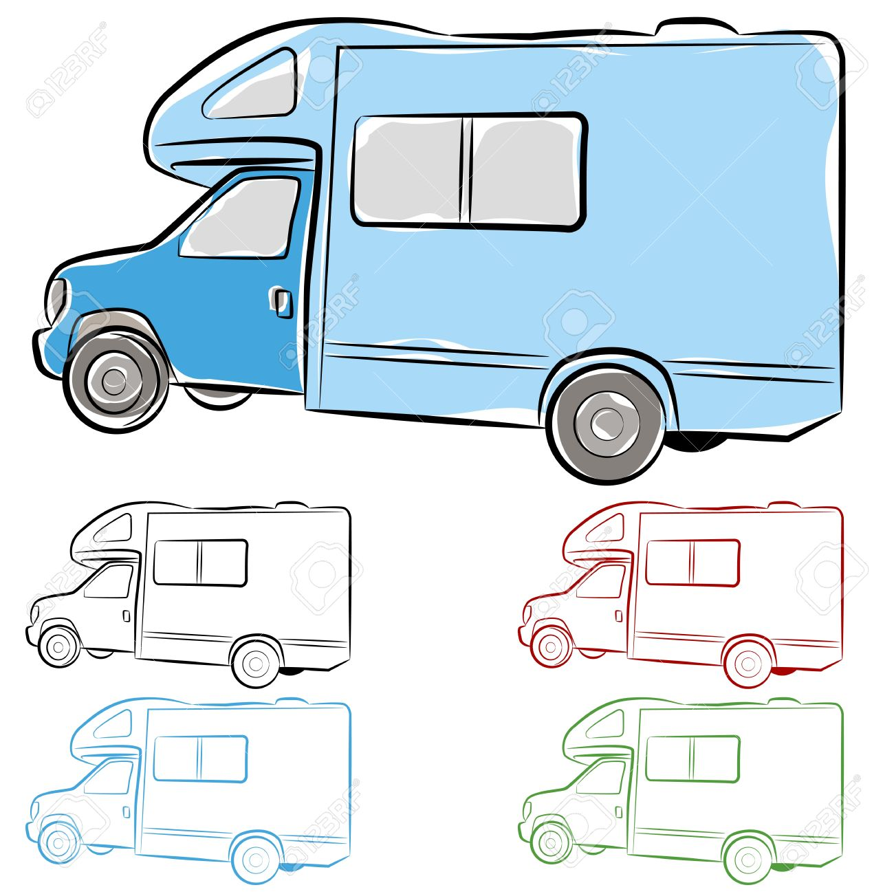 1300x1300 An Image Of An Rv Camper Drawing. Royalty Free Cliparts, Vectors