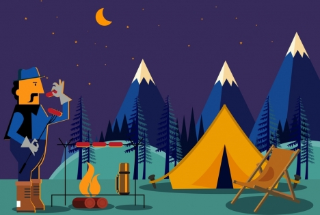 468x315 Mountain Camping Drawing Man Campfire Tent Icons Vectors Stock