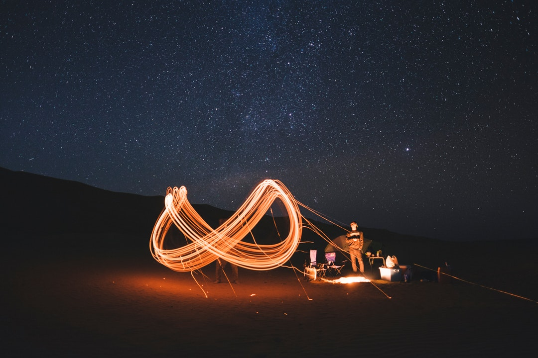1080x720 Night Campfire Star Light Drawing Spark Photo For Free Download