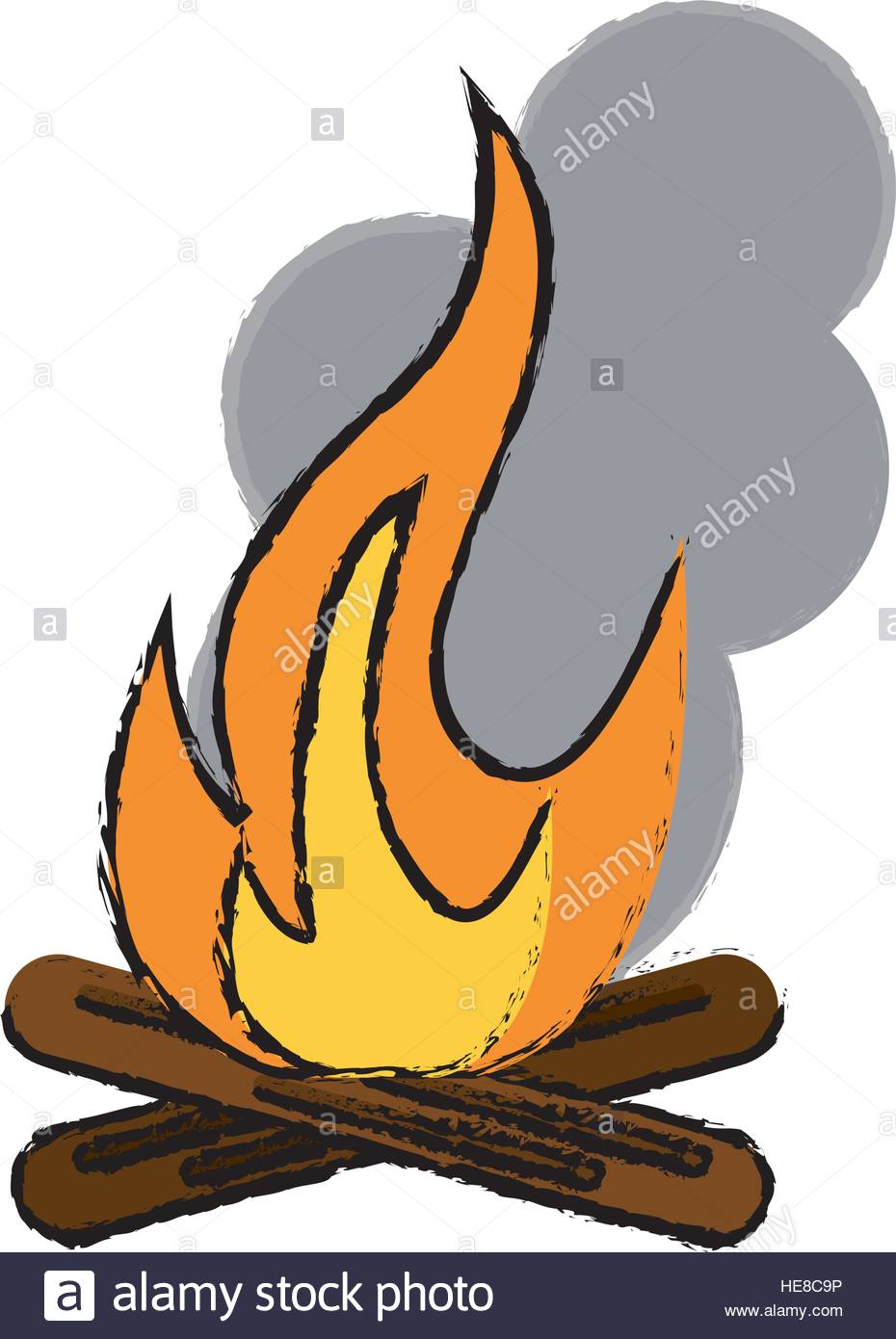 930x1390 Drawing Campfire Woods Camping Stock Vector Art Amp Illustration