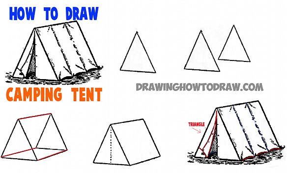 584x352 How To Draw A Camping Tent Art Doodles, Drawings