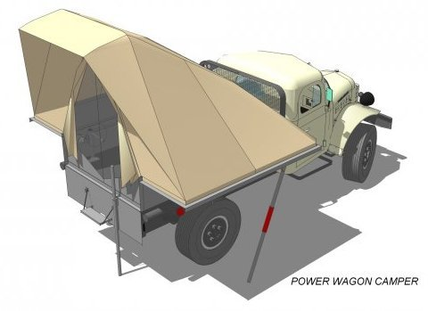 480x349 1964 Dodge Power Wagon Diesel Conversion Flatbed Rear Tent Drawing