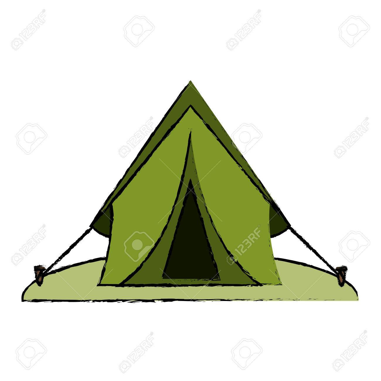 1300x1300 Drawing Tent Equipment Camping Activities Vector Illustration