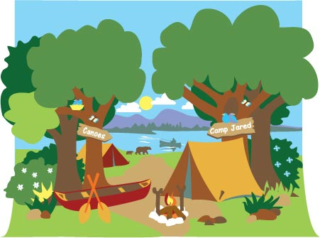451x335 Campsite Mural Paint By Number Children's Mural