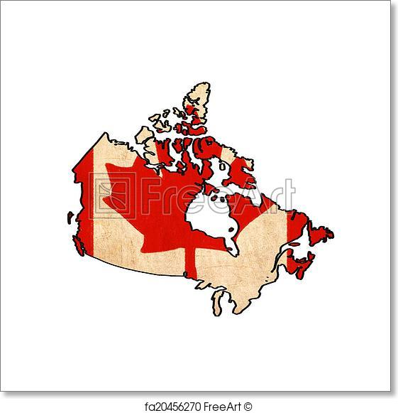561x581 Free Art Print Of Canada Map On Canada Flag Drawing ,grunge