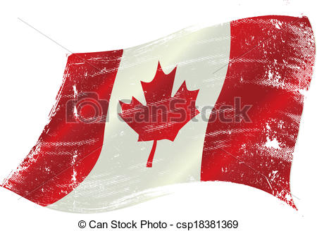 450x328 Canadian Flag Grunge. Flag Of Canada In The Wind With A Clip