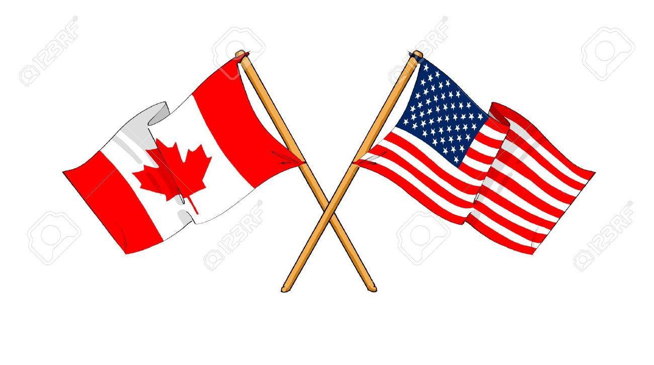 1300x726 Cartoon Like Drawings Of Flags Showing Friendship Between Canada