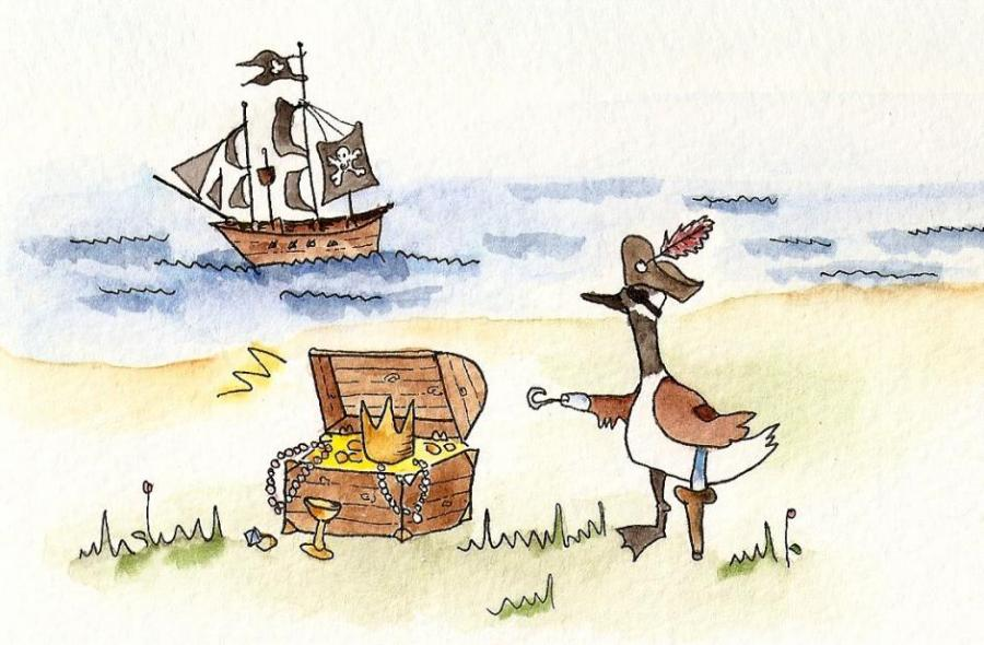 900x590 Pirate Canada Goose. Fairy Tale Characters. Drawings. Pictures