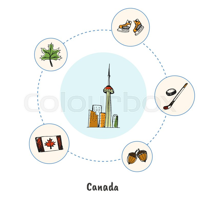 800x800 Attractive Canada. Toronto Cn Tower Doodle Surrounded Hockey Stick