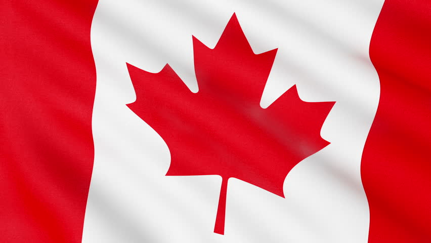 852x480 Pal Canada Flag, With Real Structure Of A Fabric Stock Footage