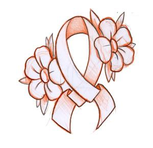 300x290 Flowers And Ribbon Cancer Tattoo Design