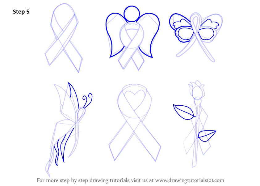 842x602 Learn How To Draw Cancer Ribbons (Everyday Objects) Step By Step