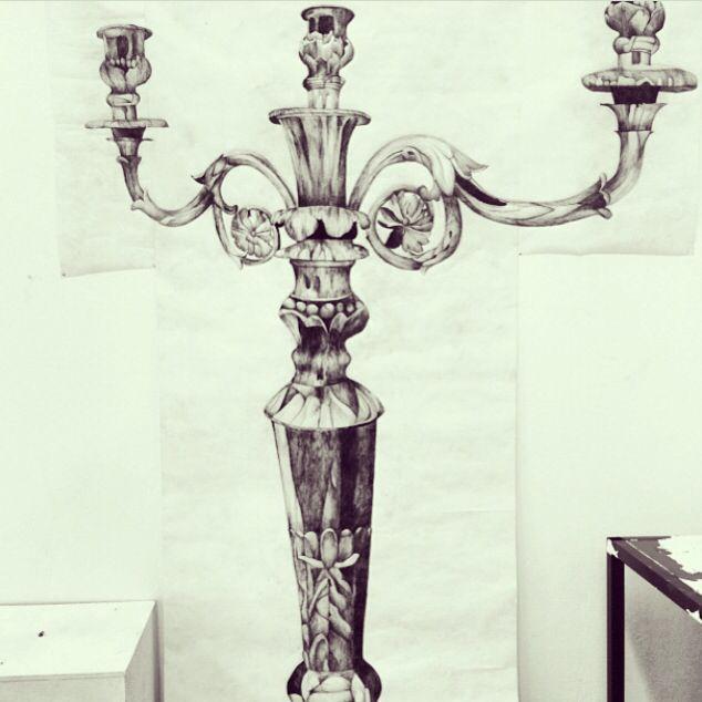 634x634 My Own Biro Drawing Of A Baroque Rococo Candelabra In Biro Pen