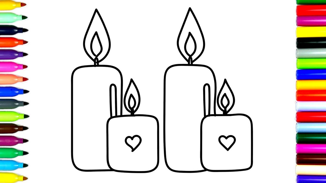 1280x720 How To Draw Candles Coloring Pages Candles For Kids