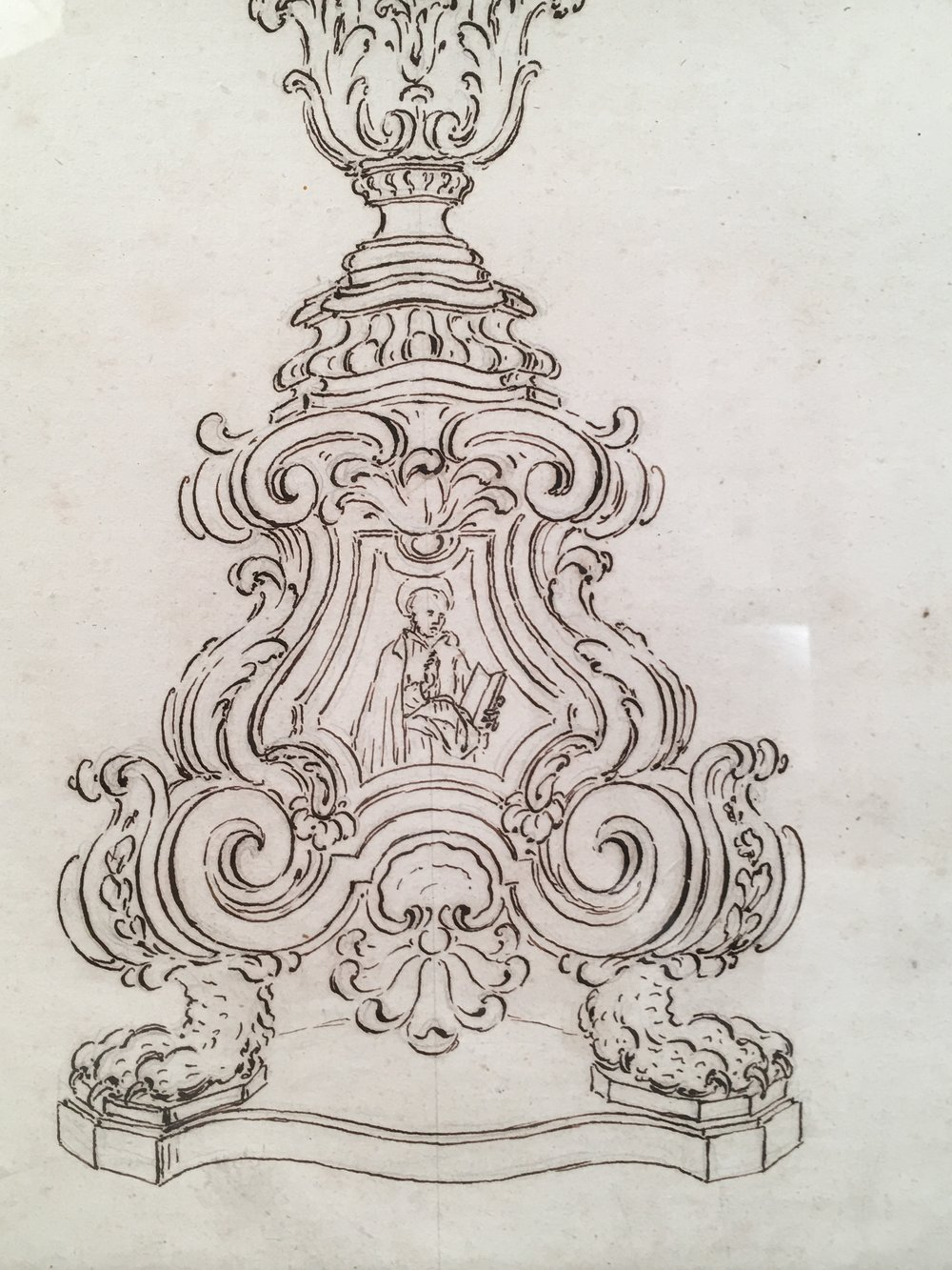 1000x1333 18th Century Italian Pen And Ink Baroque Candlestick Drawing