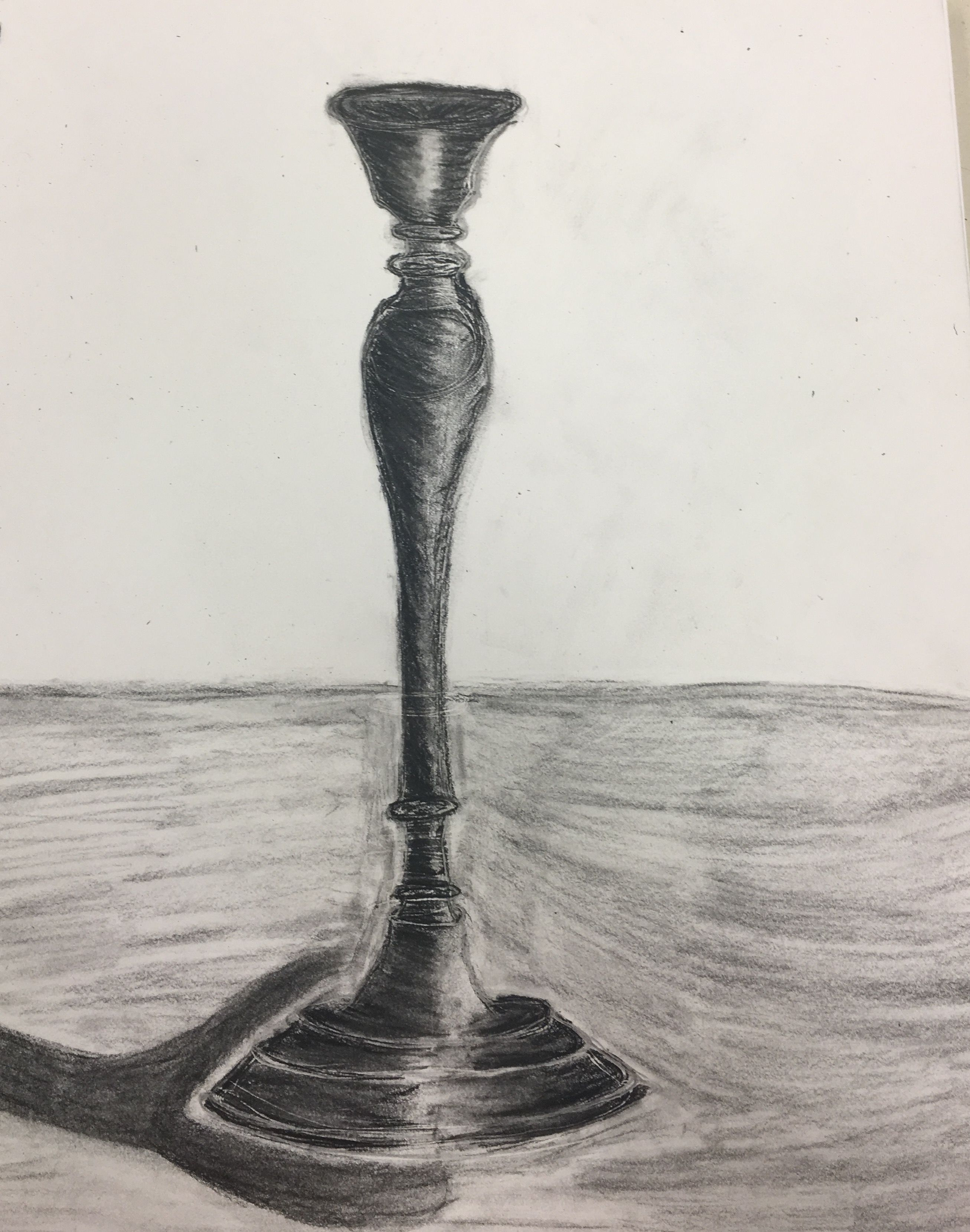 2613x3319 The Candlestick Is A Charcoal Drawing And Has A Shadow Cast On It