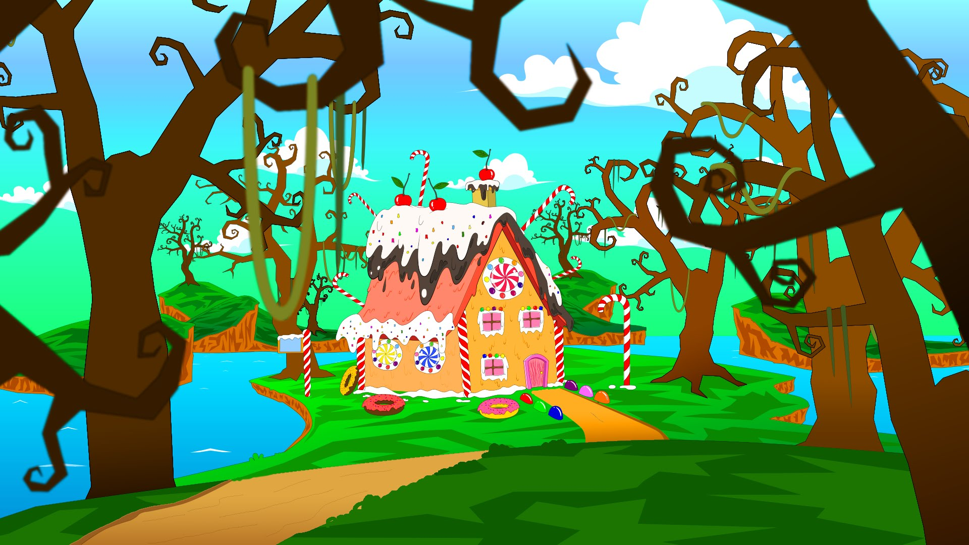 1920x1080 Candy House Background Modeling, Drawing And Painting [Speed Paint