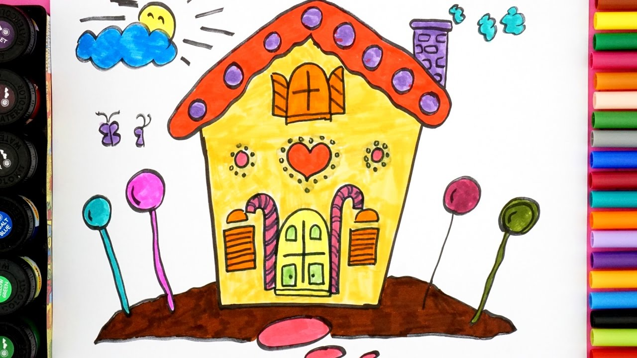 1280x720 Candy House Drawing For Kids
