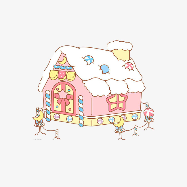 650x651 Candy House Decoration Drawing, Cartoon Candy House, Pink Series